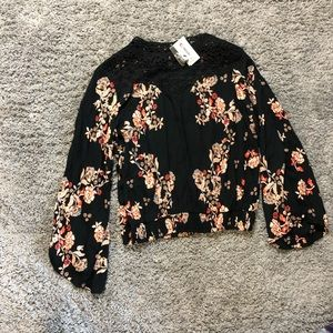 Black and floral high neck line top